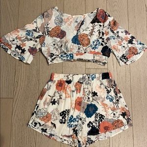 Floral Two Piece Top and Shorts Set